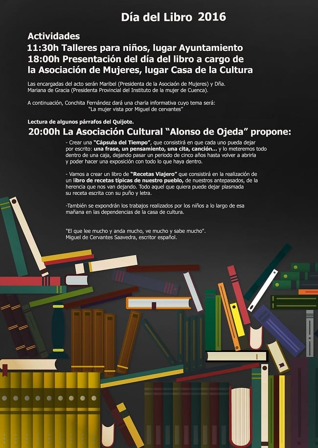 Cartel del Día del Libro 2016 en Torrejoncillo del Rey