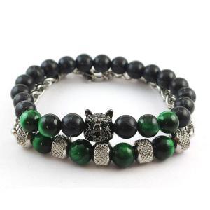 Набір браслетів зелений із вовком