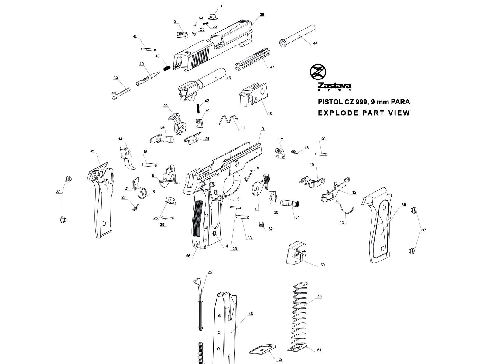 Pistol CZ 999/EZ9 – parts