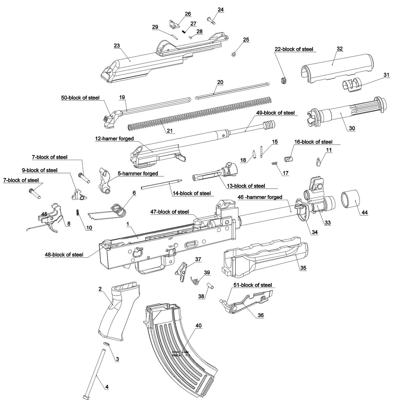 Pistol ZPAP 92 – parts