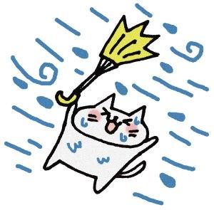 傘がさせないネコ