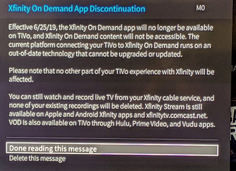 Comcast Retires TiVo Xfinity On Demand