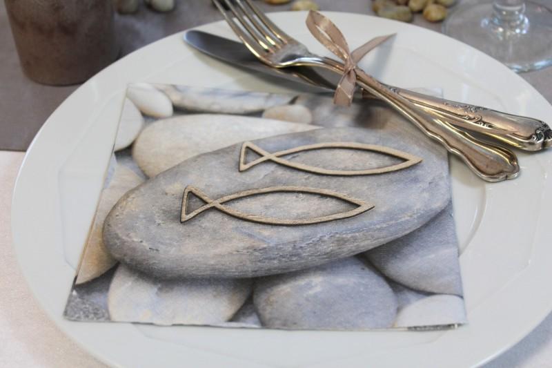 20 Servietten Steine Fische KommunionKonfirmation Tischdeko Servietten  Taschen