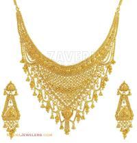 22k Gold Necklace Earring Set
