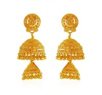 22k Gold Jhumka Earrings - AjEr62765 - 22K Gold earrings ...