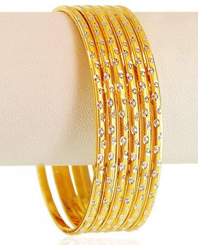 22 Karat Gold Bangles 6 Pcs  Ajba61976  22k Gold Two