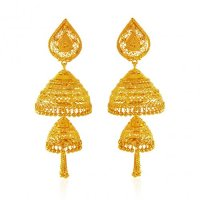 Jhumka Earrings 22K Gold - AjEr62771 - 22 Karat gold ...