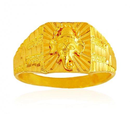 22k Gold Ganesha Mens Ring AjRi62652 22kt Gold Mens