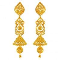 22K Gold Long Jhumka Earrings - AjEr62769 - 22 Karat gold ...