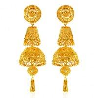 22K Gold Long Jhumka Earrings - AjEr62770 - 22 Karat gold ...