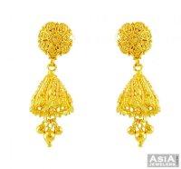 22K Gold Fancy Filigree Jhumka - AjEr56170 - 22K gold ...