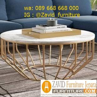 meja tamu marmer minimalis bentuk bulat kaki besi unik - Meja Tamu Marmer Bandung Modern