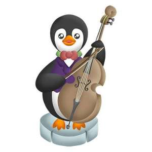 Cute Penguin Playing Double Bass