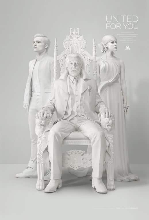 Peeta Mallark and Johanna Mason Stand With President Snow to address Panem