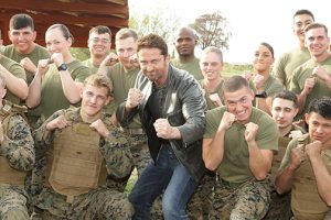 Gerard Butler visits troops in California 11
