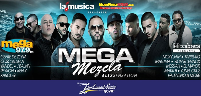 Top Urban and Latin music superstars to hit the stage on April 22nd for the Alex Sensation Mega Mezcla in New Jersey 1