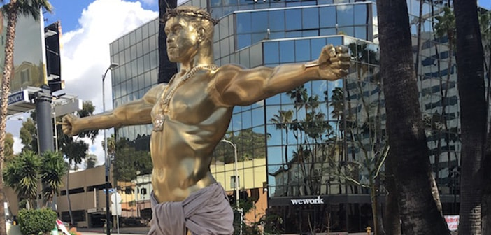 LA Street Artist Made A Gold Statue Of Kanye West As Jesus