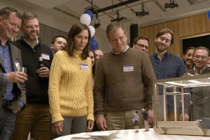 Downsizing featuring Alec Baldwin, Brigette Lundy-Paine, Christoph Waltz, Downsizing, Jason Sudeikis, Kristen Wiig, Maribeth Monroe, Matt Damon, and Neil Patrick Harris