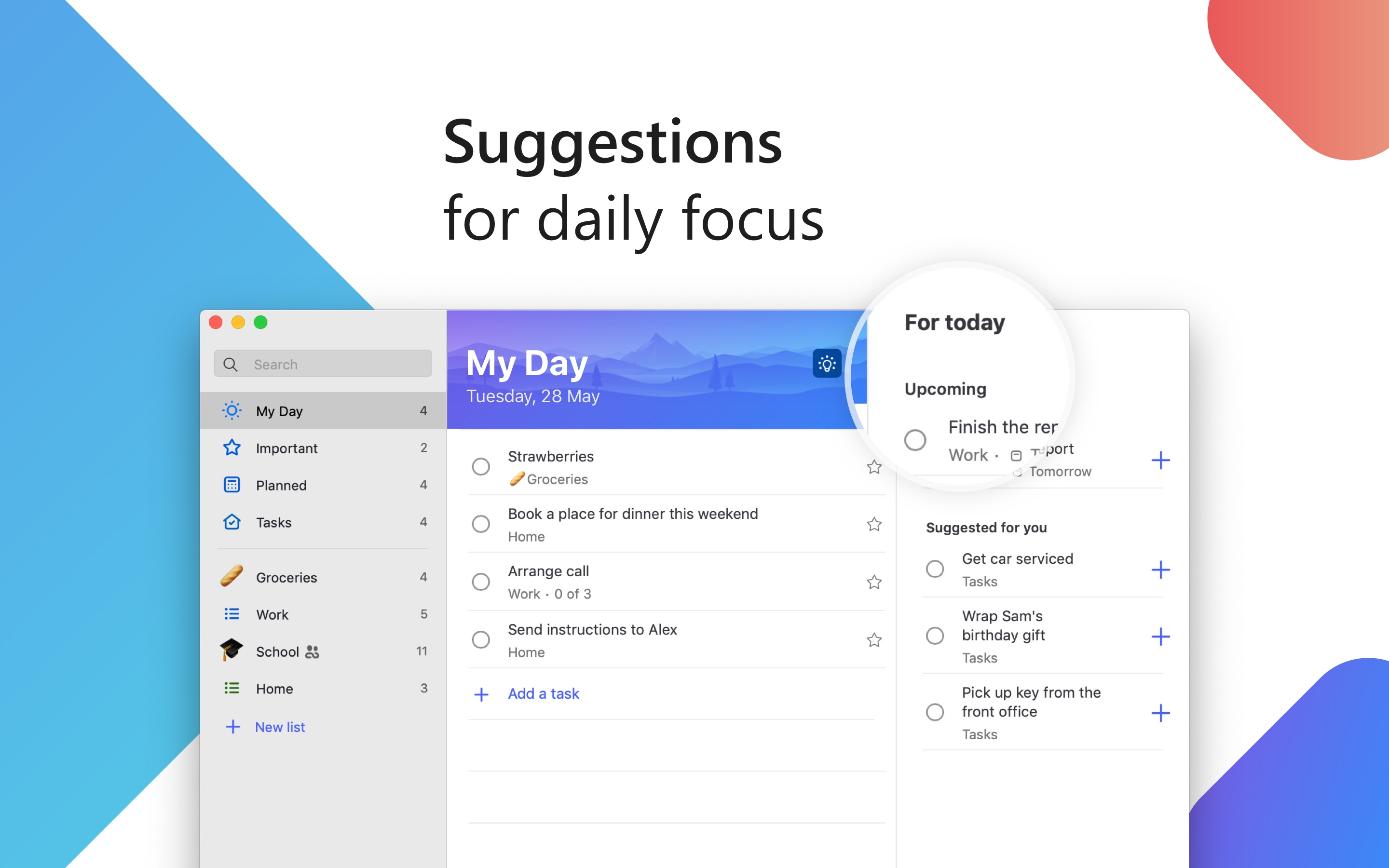Screenshot do app Microsoft To-Do