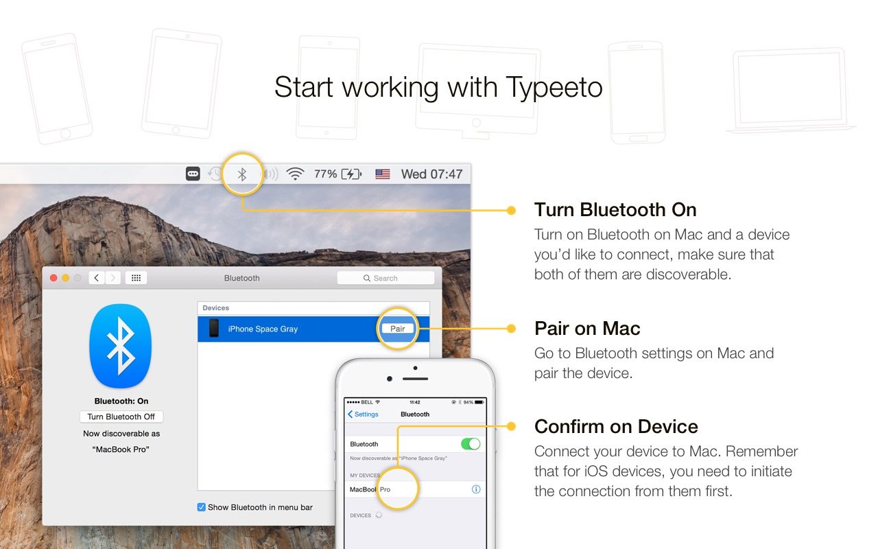 Screenshot do app Typeeto: remote full size bluetooth keyboard