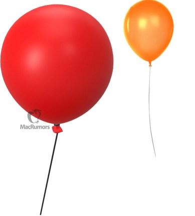 Balão vermelho utilizado para localizar objetos no app Buscar