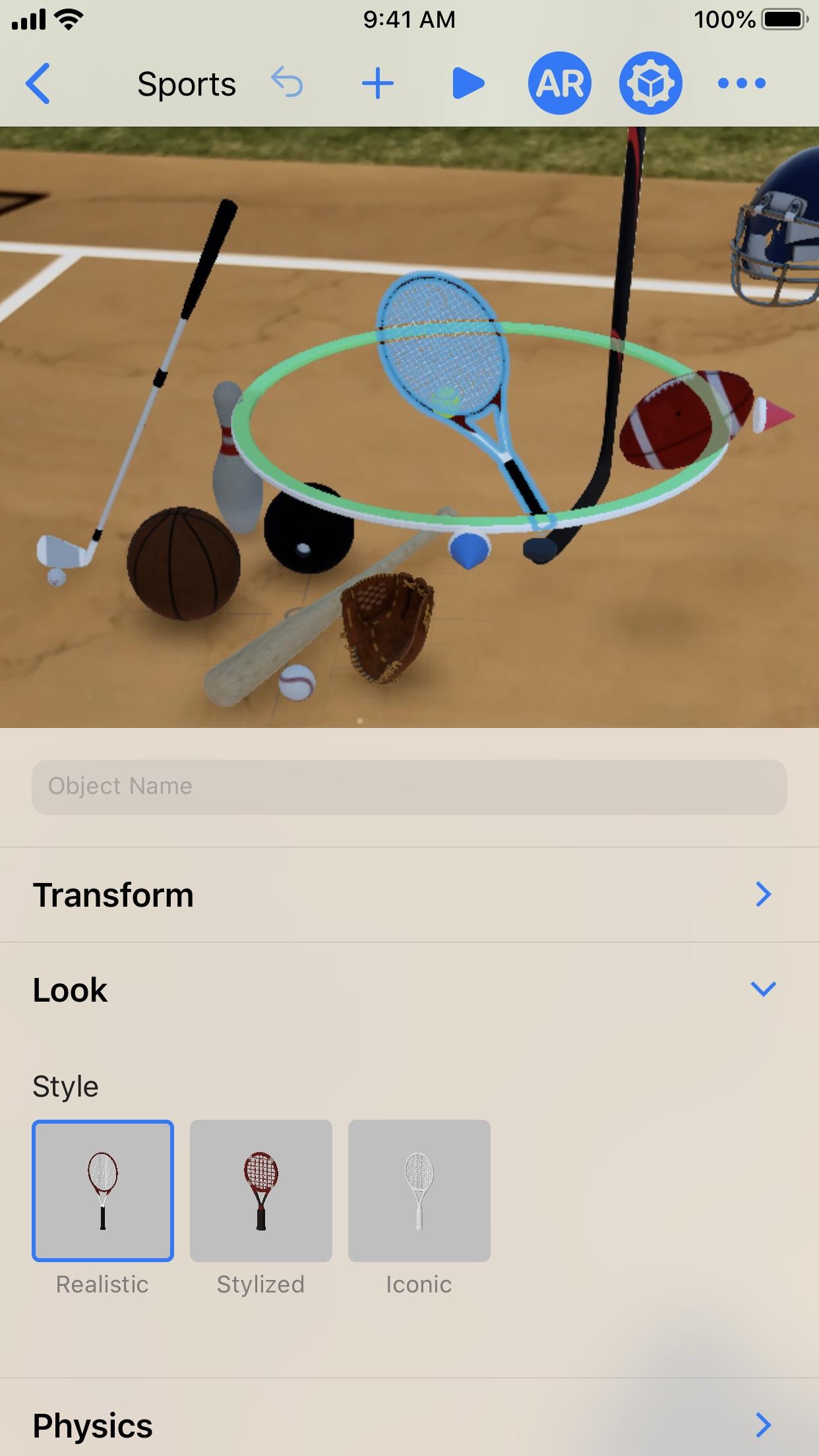 Screenshot do app Reality Composer