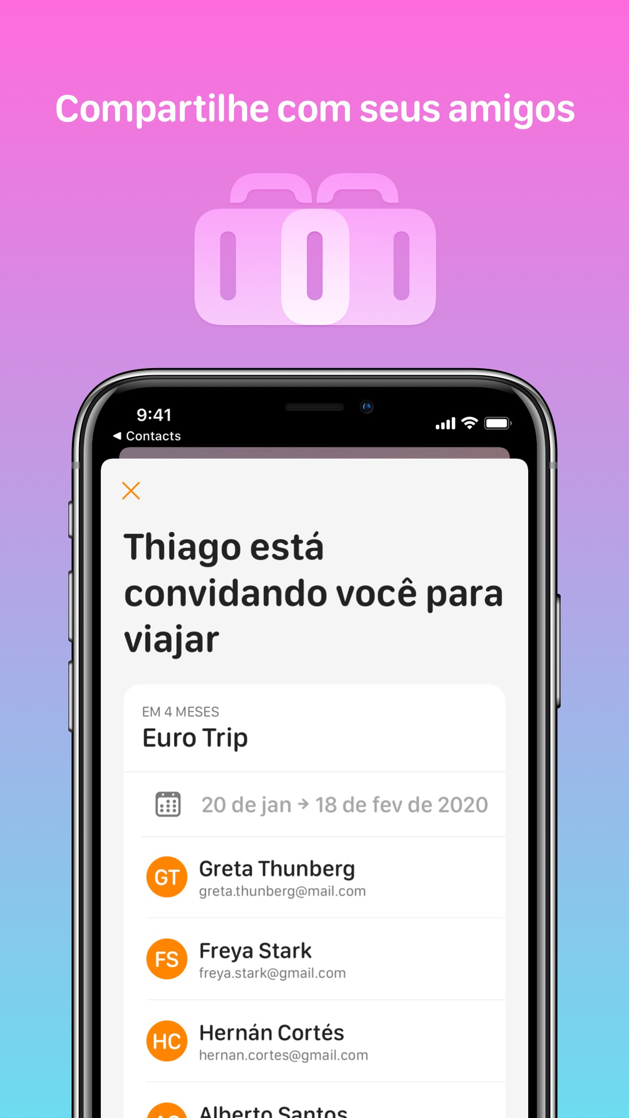 Screenshot do app Tripsy