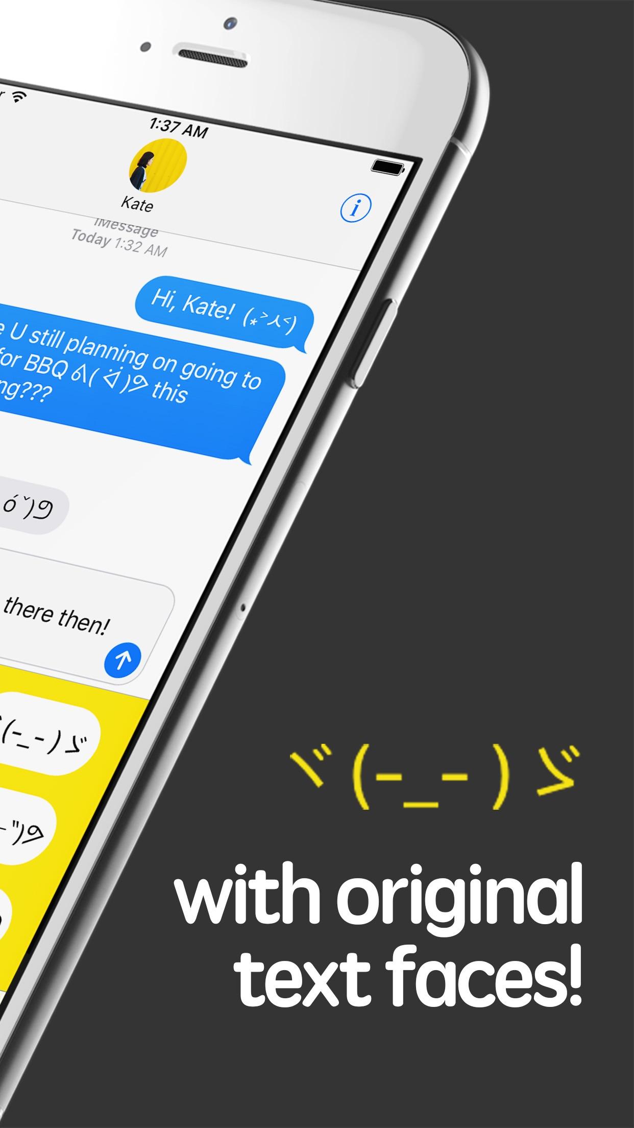 Screenshot do app iShrug: Text Faces for iMessage