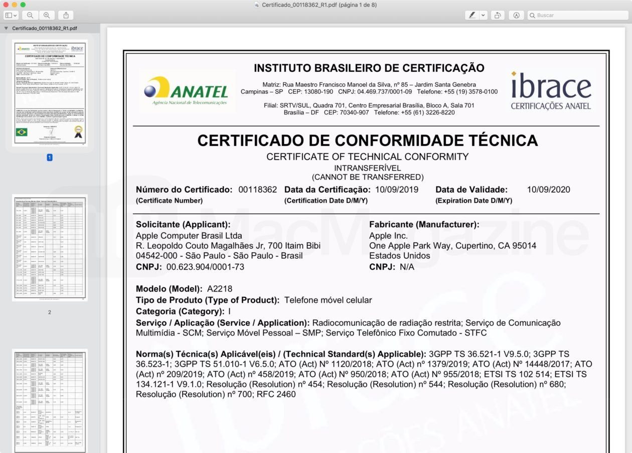 Certificado do iPhone 11 Pro Max (Anatel)