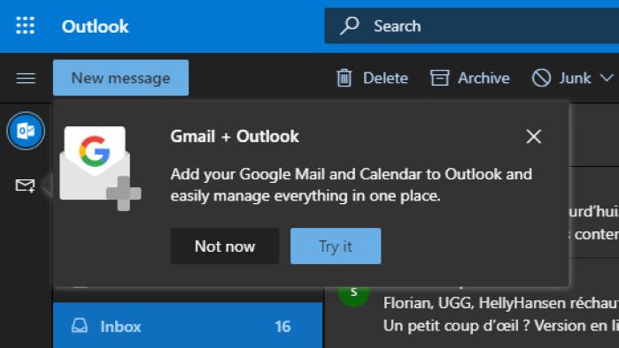 Gmail e Google Drive no Outlook.com
