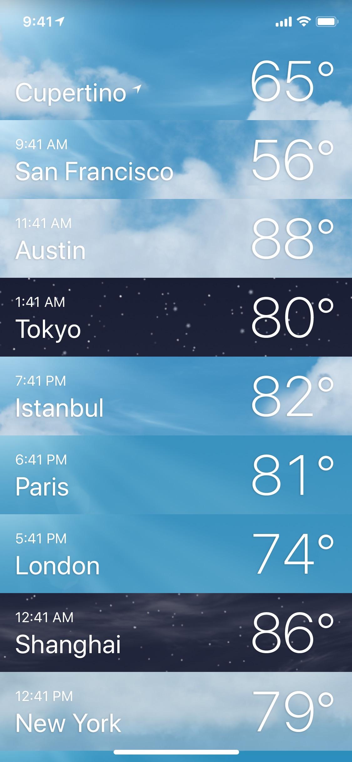 Screenshot do app Tempo