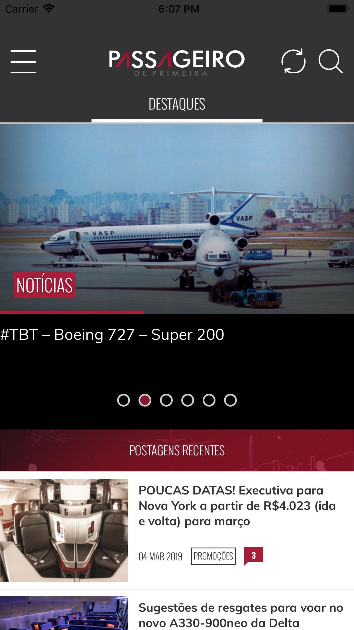 Screenshot do app Passageiro de Primeira