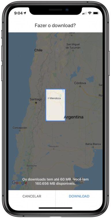 Mapas offline do Google Maps