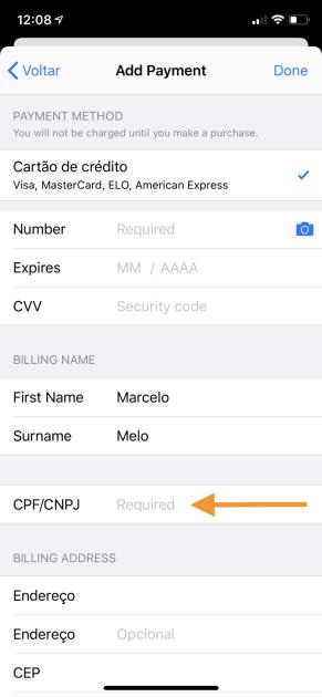 Apple ID com CPF/CNPJ