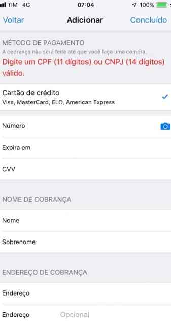 Bug - Campo CPF/CNPJ Apple ID