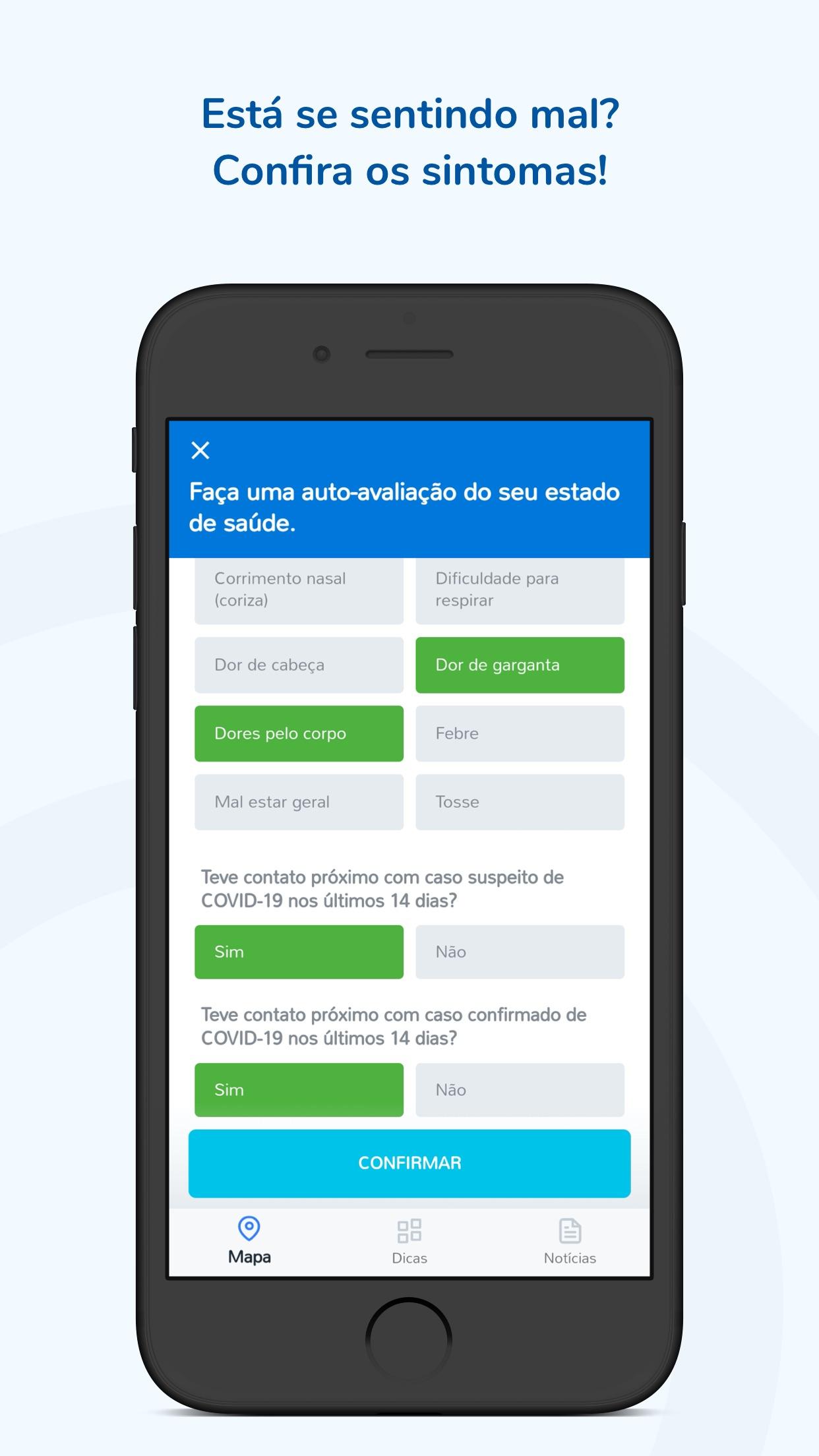 Screenshot do app Coronavírus - SUS