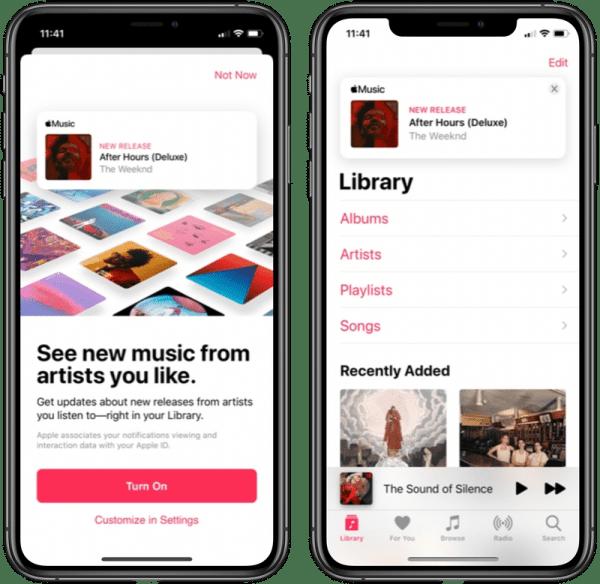 Banner de novidades do Apple Music