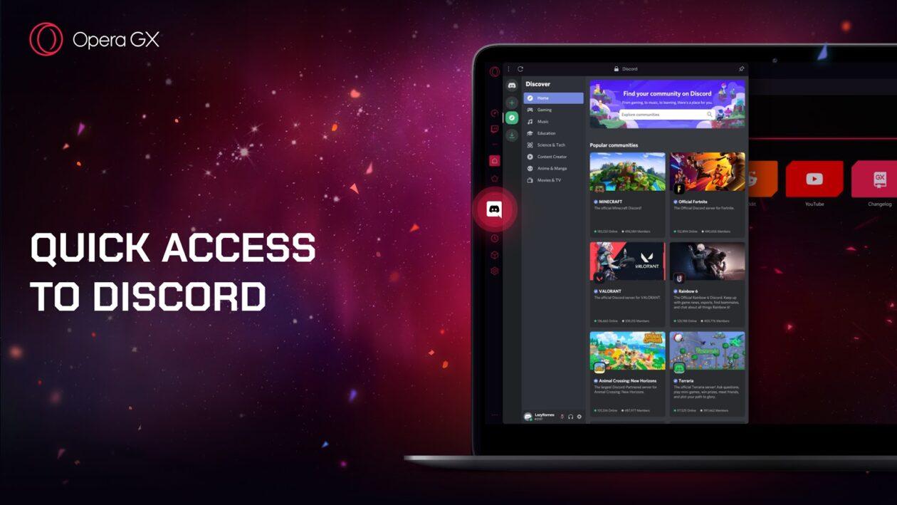 Opera GX com suporte ao Discord