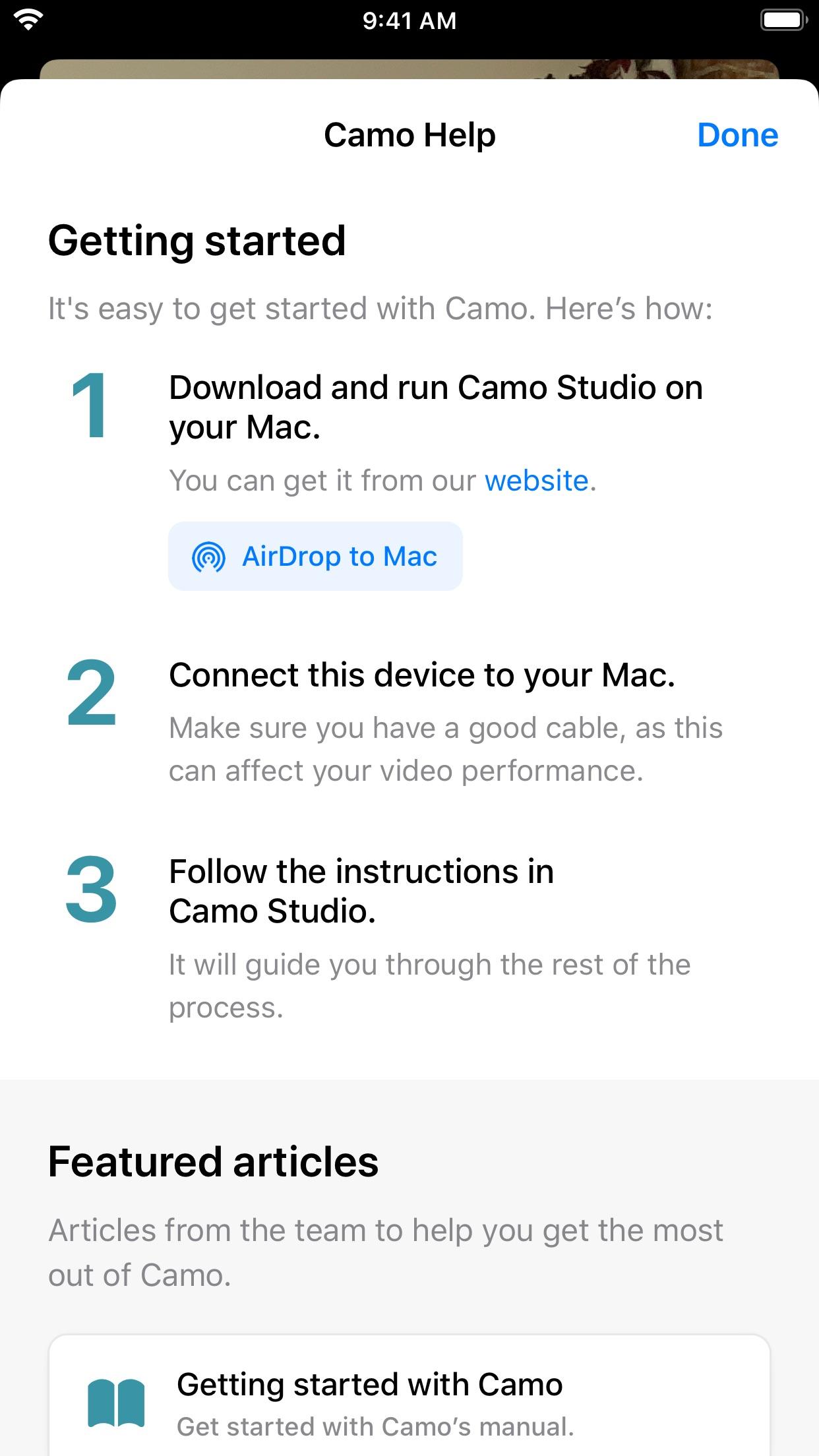 Screenshot do app Reincubate Camo