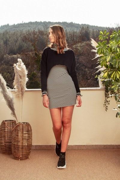 Φόρεμα ριγέ με top cropped