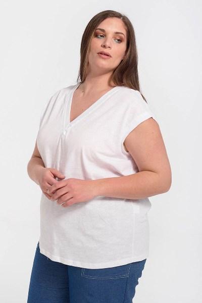 Μπλούζα plus size με λαιμόκοψη V άσπρο