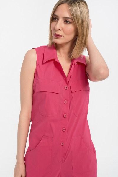 Ολόσωμη φόρμα αμάνικη με τσέπες σε διάφορα χρώματα