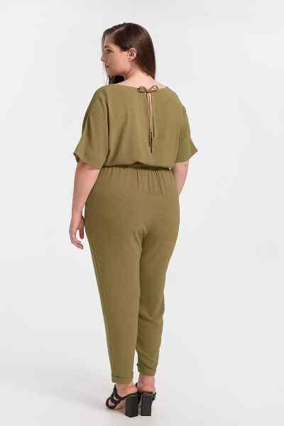 Ολόσωμη φόρμα plus size - λαδί
