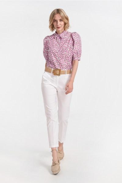 Παντελόνι καμπαρντίνα με ρεβέρ - άσπρο