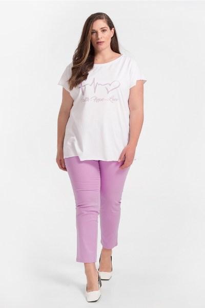 Παντελόνι plus size σε ίσια γραμμή λιλά