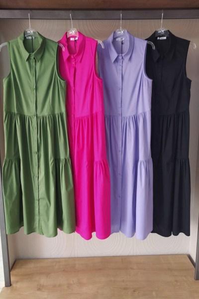 Φόρεμα shirt dress αμάνικο με βολάν σε διάφορα χρώματα