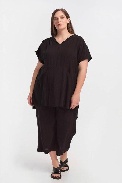 Μπλουζοφόρεμα plus size με κουκούλα και τσέπη μαύρο