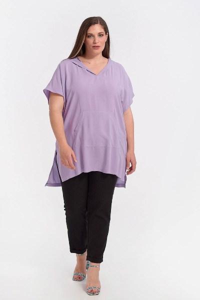 Μπλουζοφόρεμα plus size με κουκούλα και τσέπη λιλά