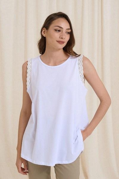 Μπλούζα αμάνικη μακό με δαντέλα άσπρο