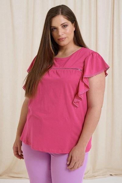 Μπλούζα plus size με δαντέλα φούξια